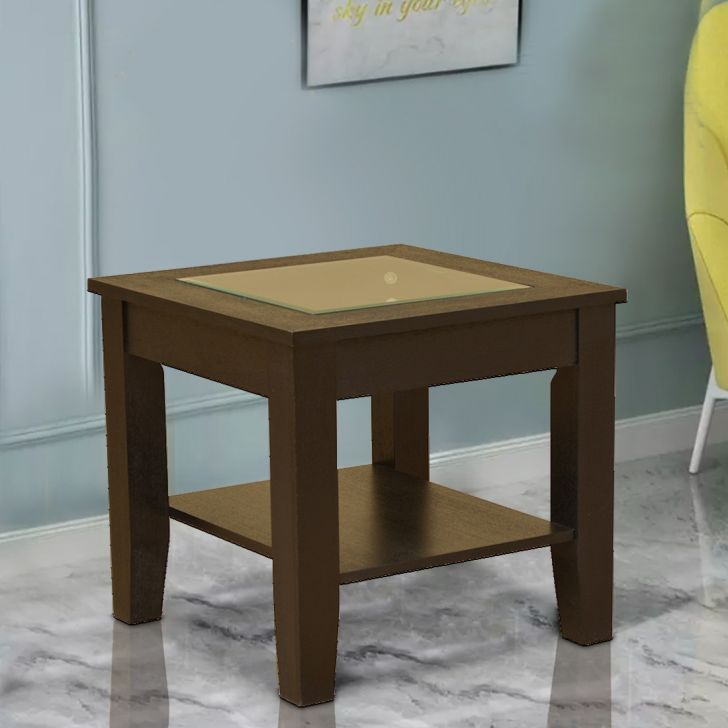 Abby Glass Top Side Table in Dark Brown Colour