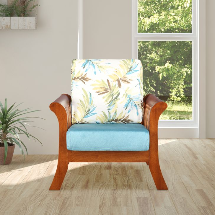 Aubrey Solid Wood Single Seater Sofa With Cushion in Printed Teal Colour by HomeTown