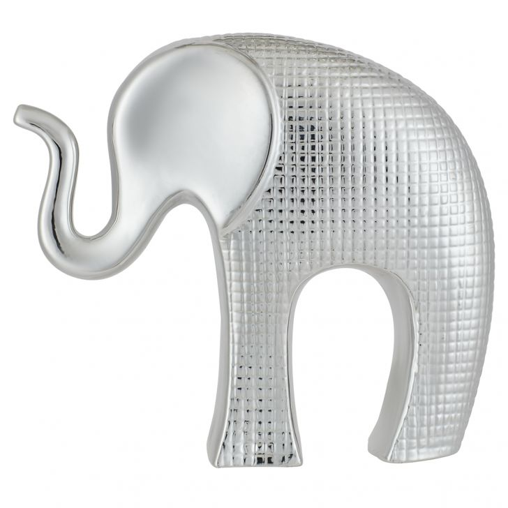 Luna Trunkup Textured Elephant Silver Ceramic Table D in Silver Colour by Living Essence