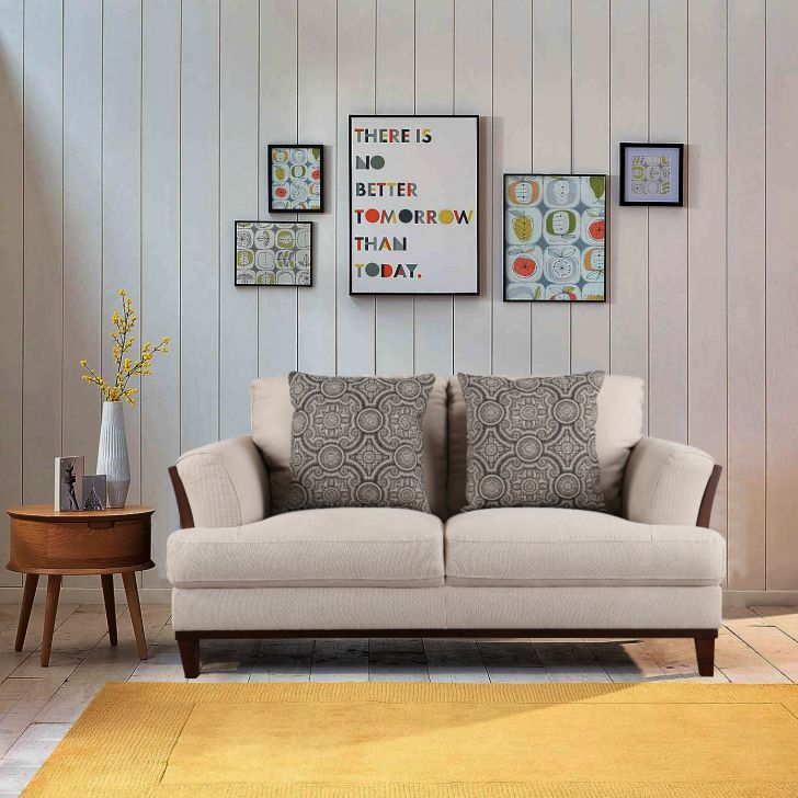Sylvester Fabric Two Seater sofa in Beige Colour by HomeTown