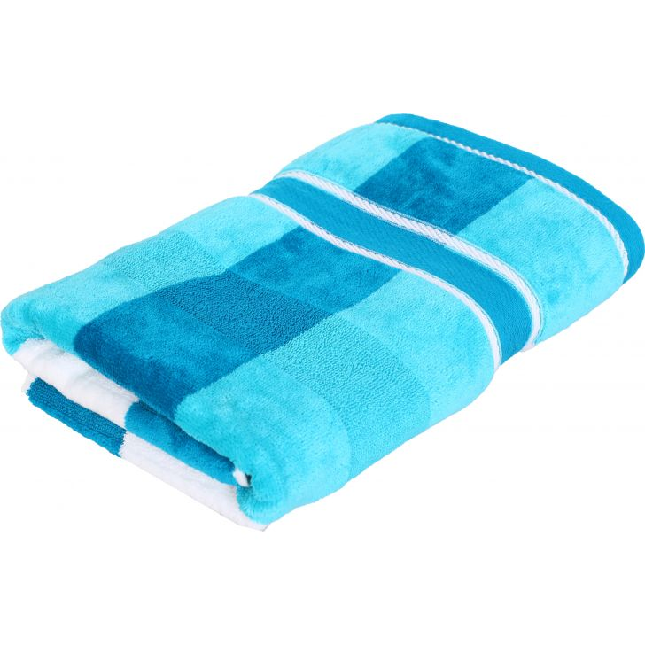 Yarn Dyed Jump Velvet Cotton Bath Towels in Blue Colour by Cannon