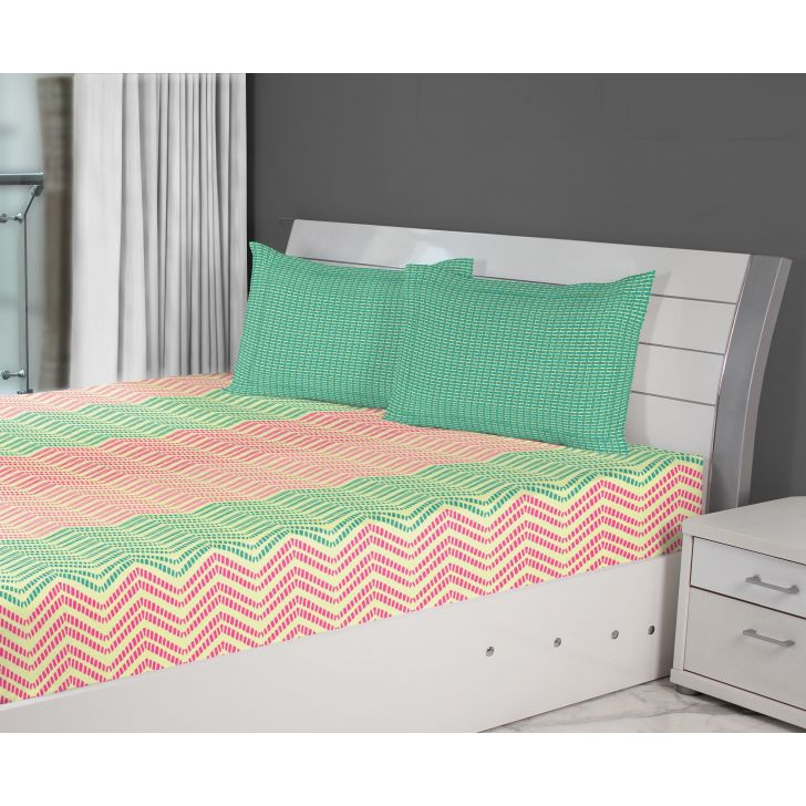 Fiesta Chevron Cotton Double Bed Sheets in Pink Colour by Living Essence