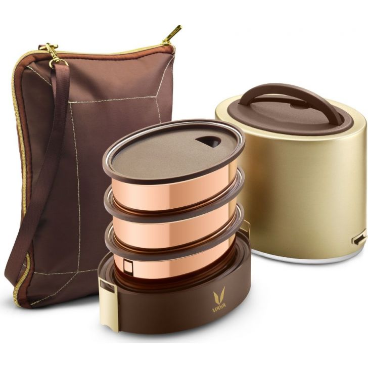 Vaya Tyffyn 1000 Ml With Bagmat - 3 Copper Containers, Gold