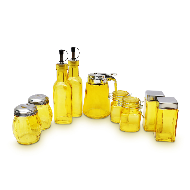 Living Essence Glass Spice Containers in Yellow Colour by Living Essence