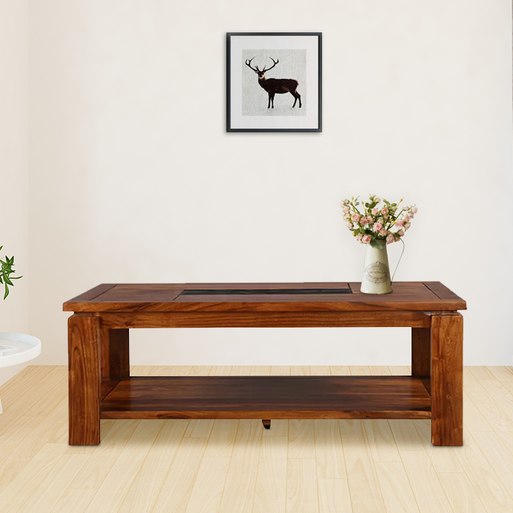 Leopold Solid Wood Center Table in Walnut  & Black Colour by HomeTown