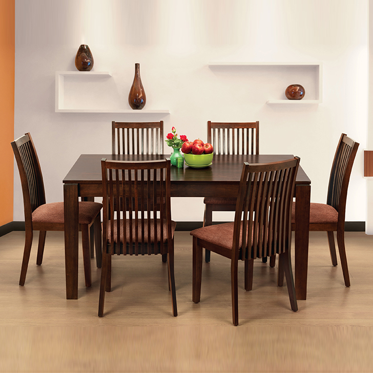 Metro Solid Wood Six Seater Dining Set in Esspresso Color by HomeTown