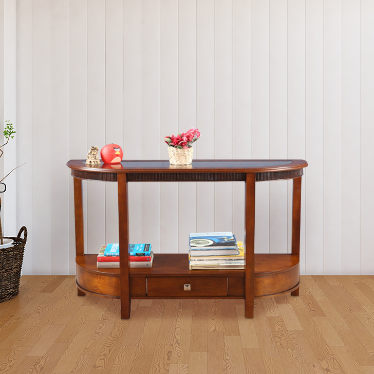 Zina Solid Wood Console Table in Brown Colour by HomeTown