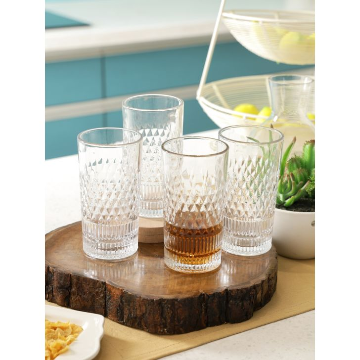 Embossed Glass Water Tumbler Set Of 6 in Transparent Colour by Living Essence