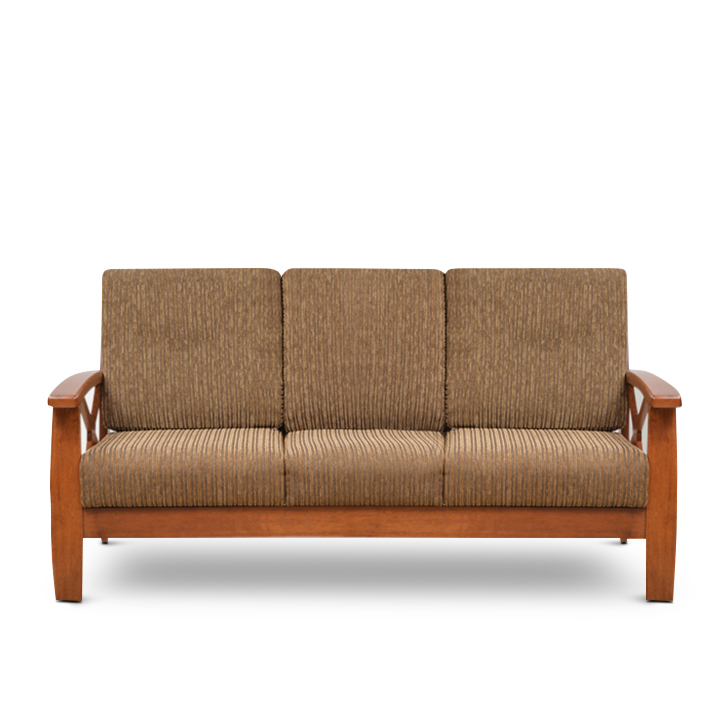 Winston Rubber Wood Three Seater sofa in Beige Colour by HomeTown