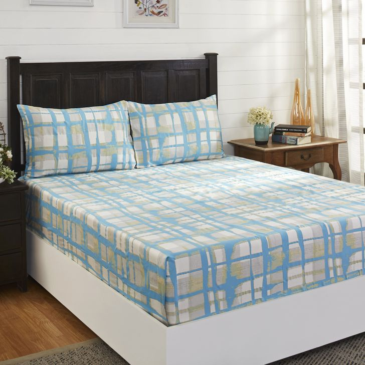 Maspar 210 TC Zafting Lines Cotton Blue Single Bedsheet with 1 Pillow Cover