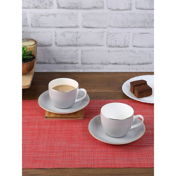 Milan Ceramic Cup & Saucer Set Of 12 220 Ml in Grey Colour by Living Essence