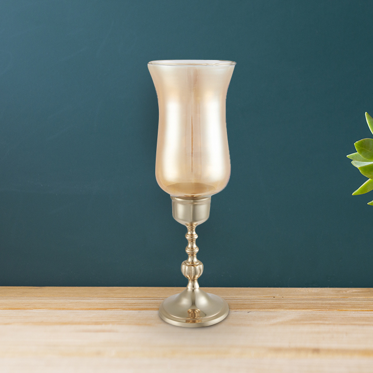 Allure Gold Glass Hurricane Metal Candle Holders in Gold Colour by Living Essence