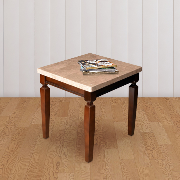 Bliss Solid Wood End Table in Beige & Brown Colour by HomeTown