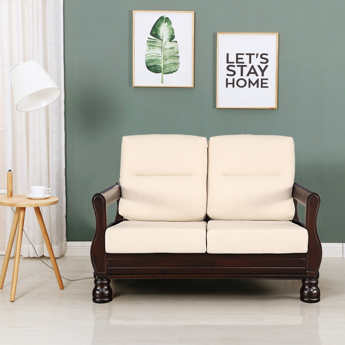 Buy Clyde Solid Wood Two Seater Sofa With Cushion In Dark