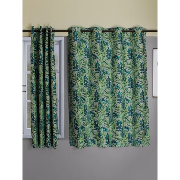 Amour Sahara  Set Of 2 Door Curtain 135X225 CM in Turquoise Colour by Living Essence