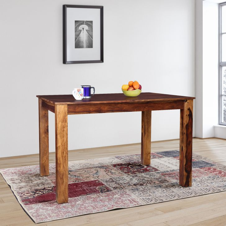 Paulo Solidwood Four Seater Rectangle Dining Table in Teak Colour
