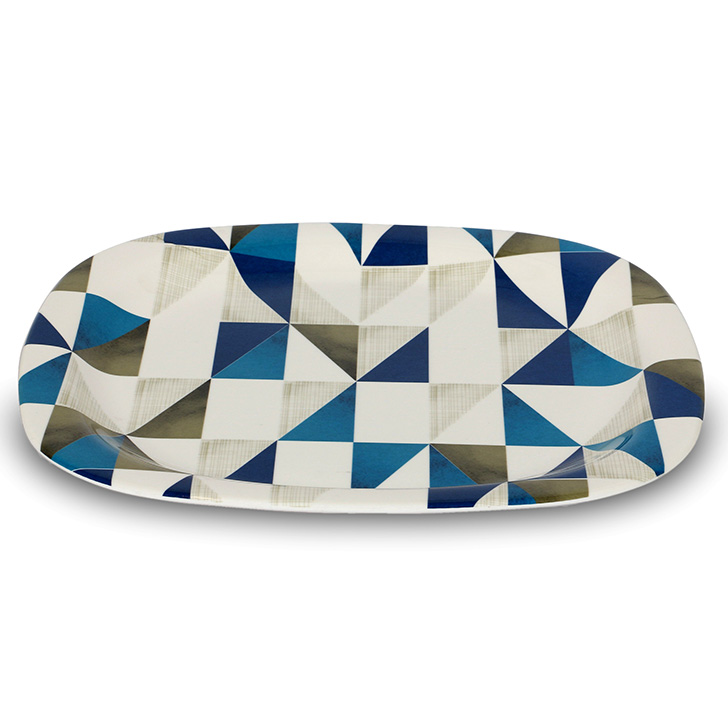 Living Essence Melamine Buffet Plate Indigo And Beige