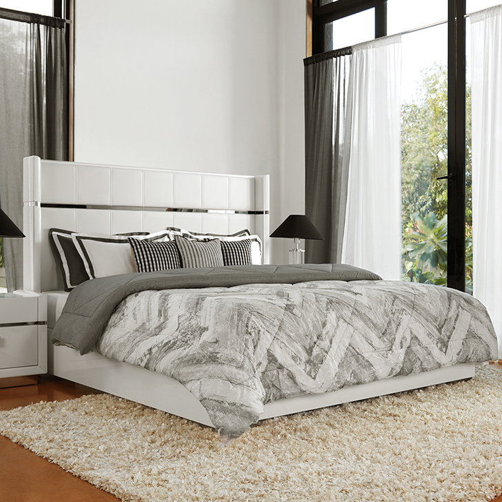 Diana Engineered Wood Box Storage King Size Bed in White Colour by HomeTown