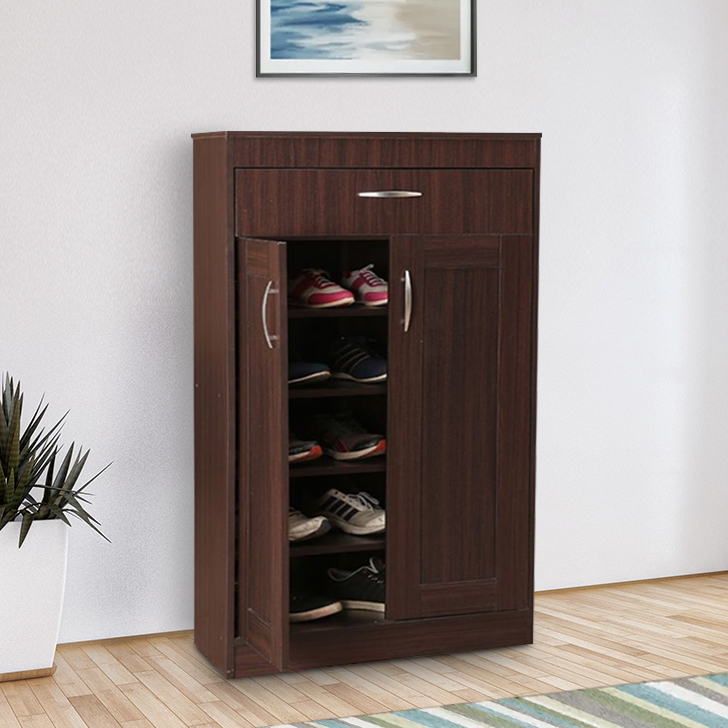 Rodley Engineered Wood Shoe Rack in Walnut Colour by HomeTown