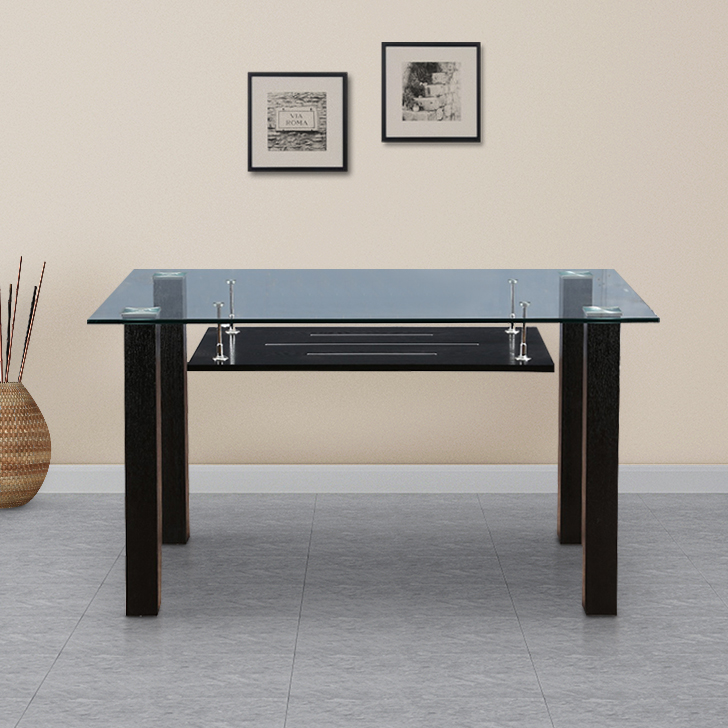 Presto Metal Four Seater Dining Table in Black Colour by HomeTown
