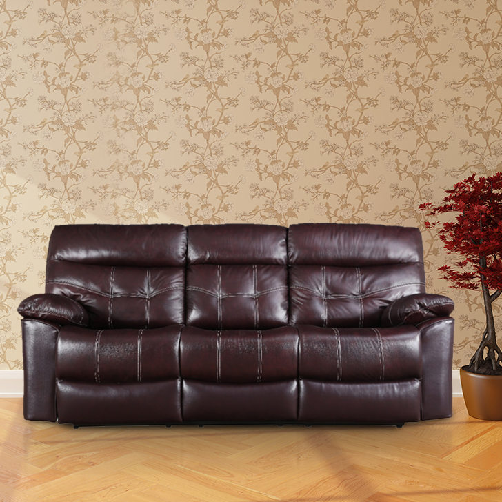 Bratislava Half Leather Three Seater Recliner in Wine Colour by HomeTown