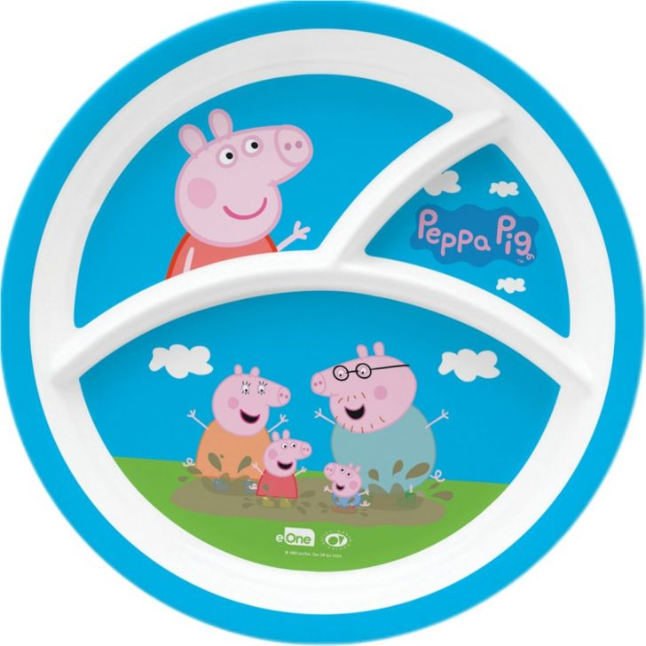 Peppa Pig Melamine Kids Round 3 Partition Plate in Multi Colour by Servewell