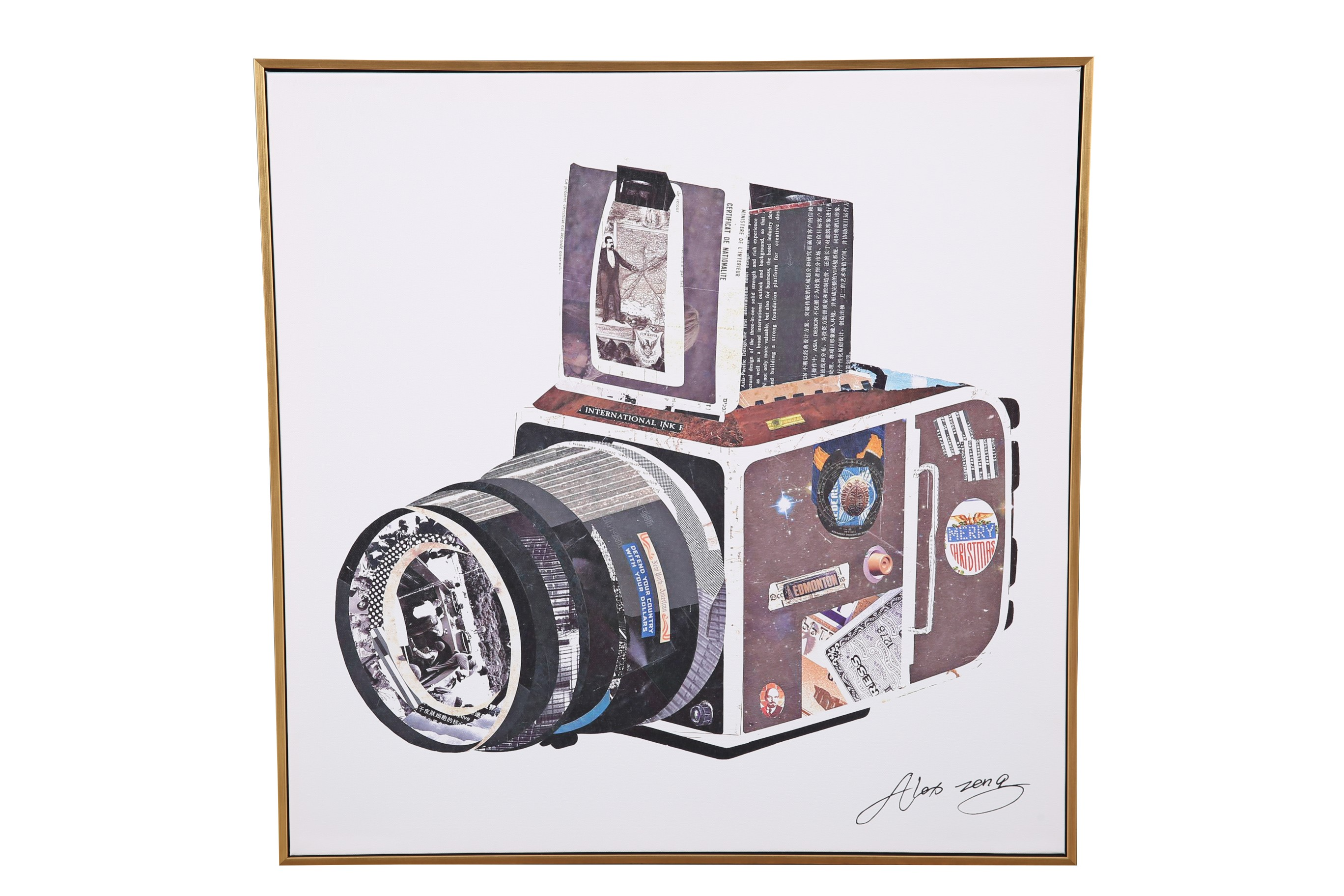 Hayden Camera 58*58Cm Painting Canvas Paintings in MULTICOLOUR Colour by Living Essence