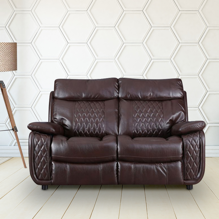Edgar Leather Fabric Two Seater Sofa in Brown Colour by HomeTown