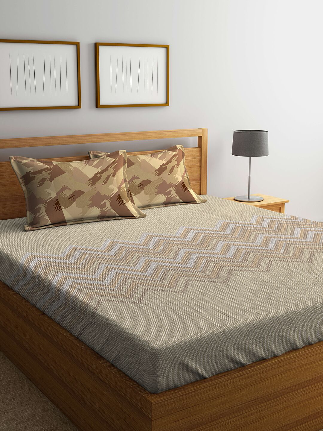 Candence Cotton Mix Bed Sheets in Multicolour Colour by Portico