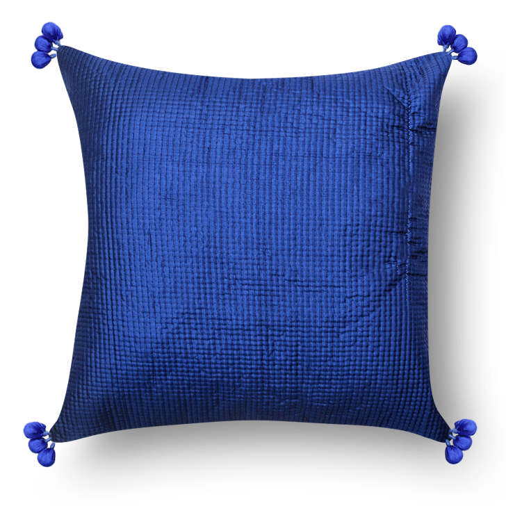 Polyester Cushion Cover Blue Polyester Cushion Covers in Blue Colour by Living Essence