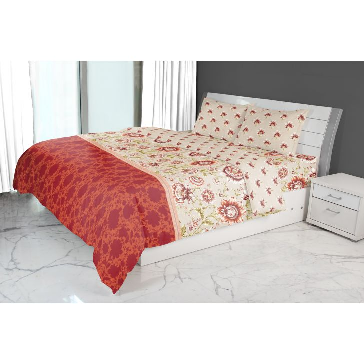Nora Jacobean Printed Double Comforter Red