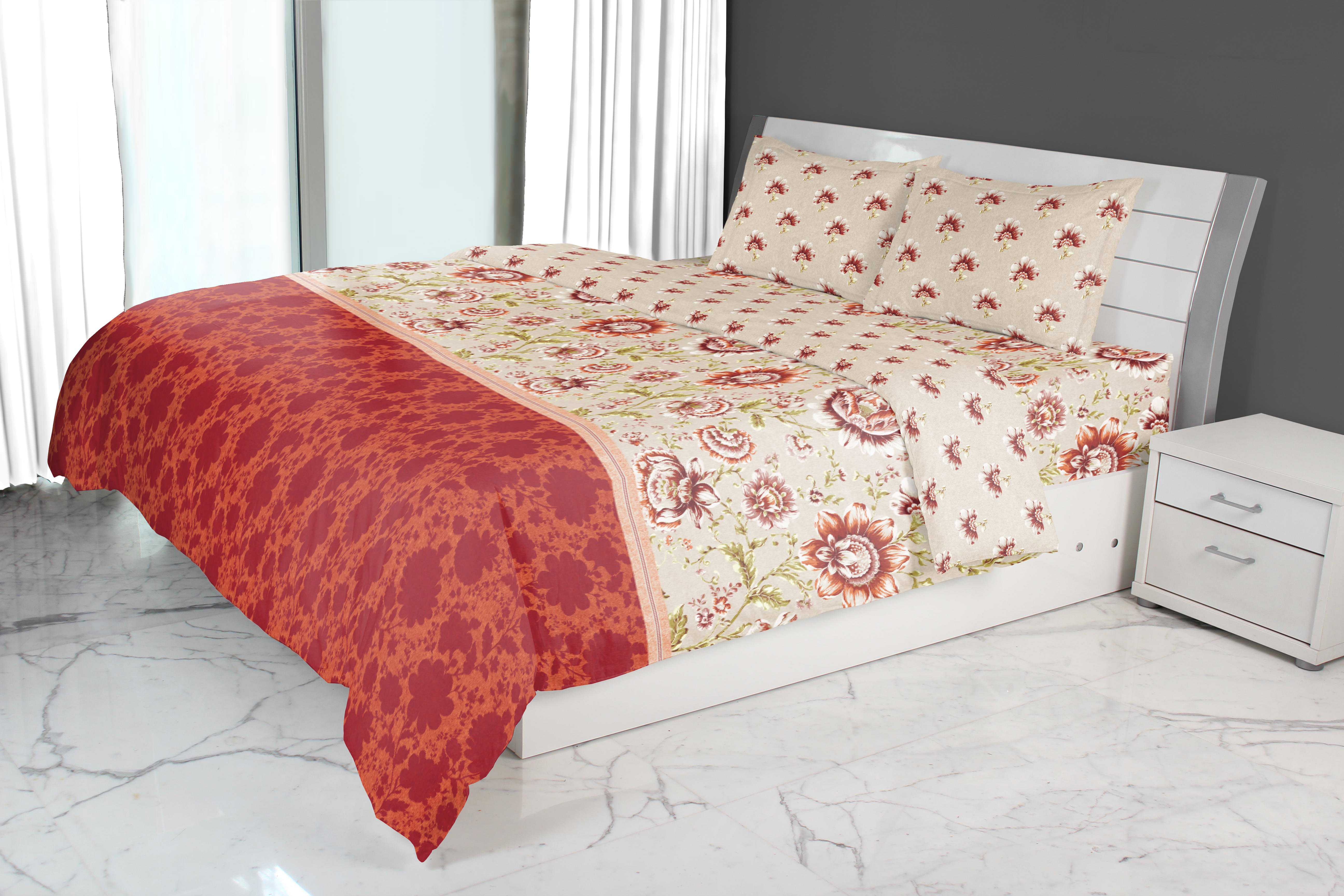 Nora Jacobean Printed Double Comforter Red Comforters in Red Colour by Living Essence