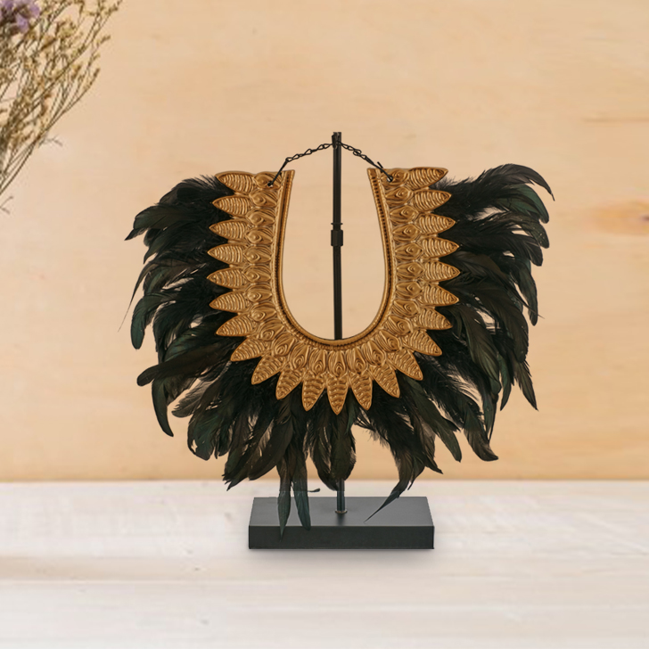Blake Feather Necklace Ceramic Table D in Black and Gold Colour by Living Essence