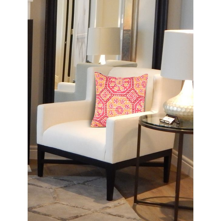 Folklore Rosa Bagh Polyester Cushion Covers in Pink Mango Colour by Living Essence