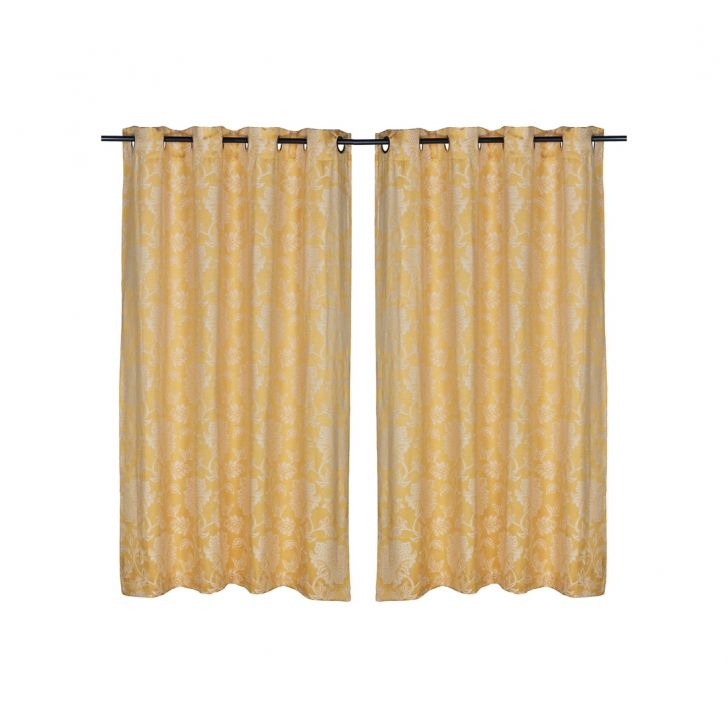 Fiesta Jacquard Polyester Window Curtains in Mustard Colour by Living Essence