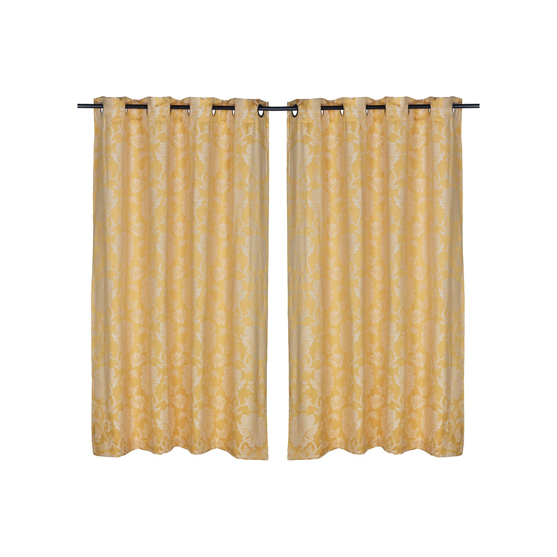 Fiesta Polyester Window Curtains in Mustard Colour by Living Essence