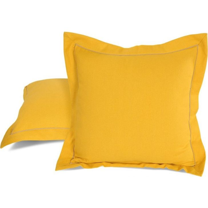 Solid Cushion Cover 16 In Yellow Color By Swayam