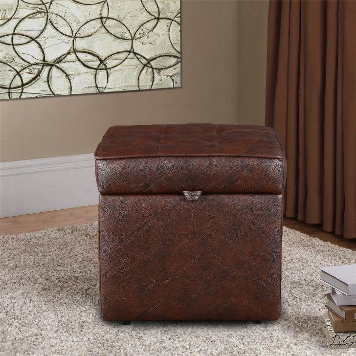 Jose Fabric & Leatherette Ottoman in Brown Colour by HomeTown