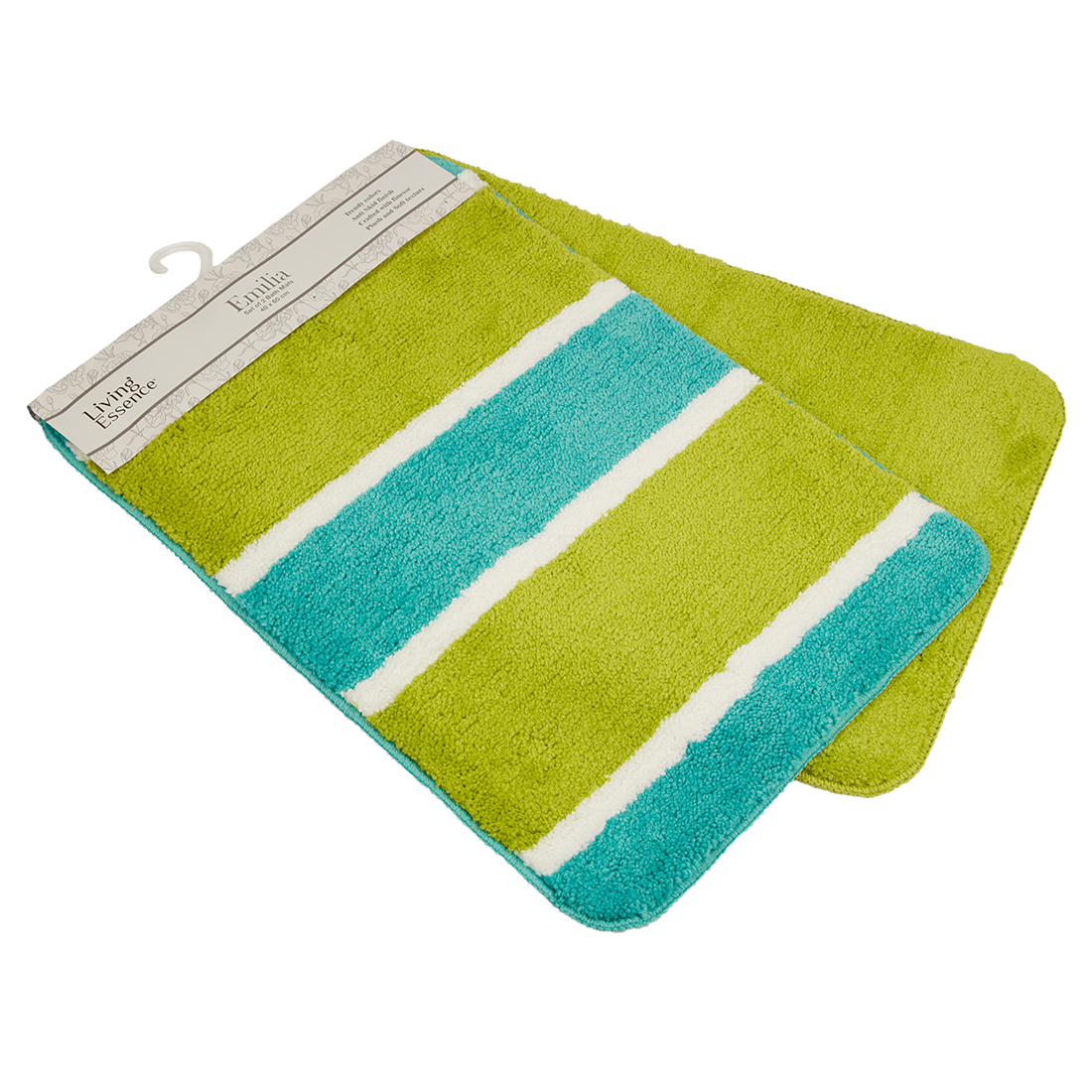Set of 2 Bathmats Teal and Citron Bath Mats in Teal Citron Colour by Living Essence