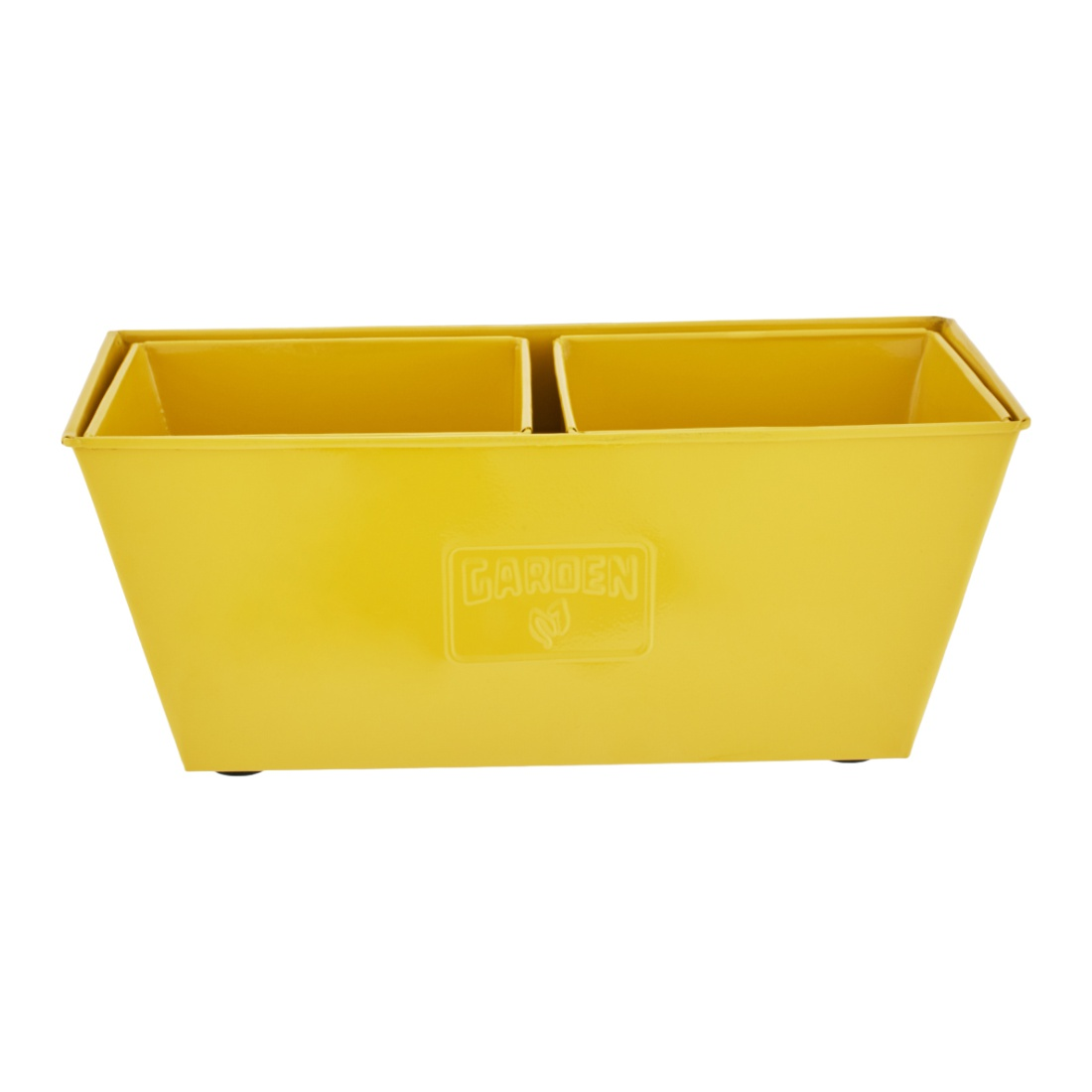 Aria Trapezium Planter Big Yellow Set of 3 Metal Pots & Planters in Yellow Colour by Living Essence
