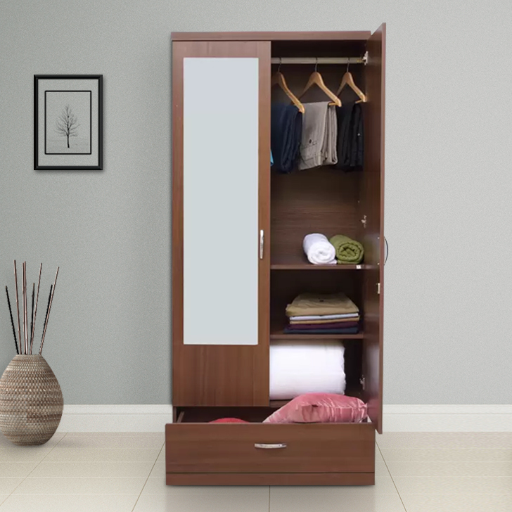 Utsav Engineered Wood Two Door Wardrobe in Regato Walnut Colour by HomeTown