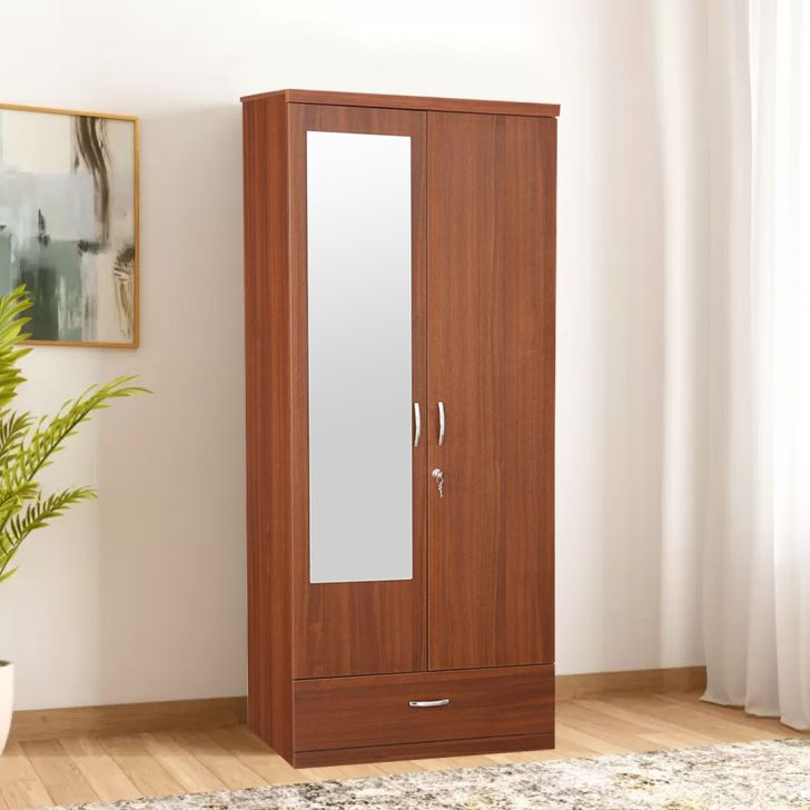 Ultima Engineered Wood Two Door Wardrobe in Regato Walnut Colour by HomeTown
