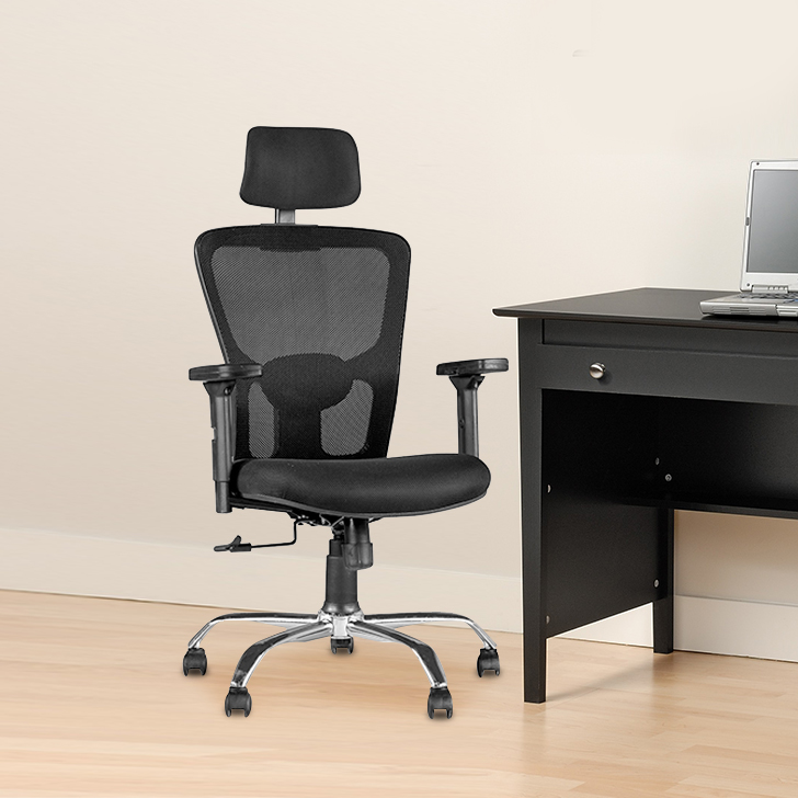 Olivia Fabric Office Chair in Black Colour by HomeTown