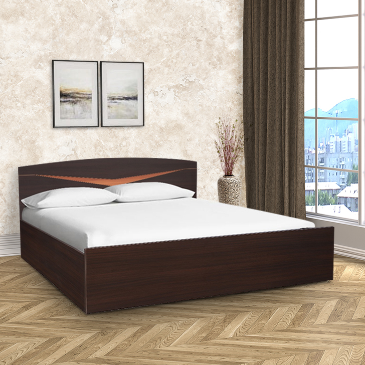 Viking Engineered Wood Box Storage Queen Size Bed in Denever Oak Colour by HomeTown