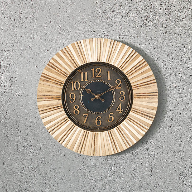 Aristo Brust Rays Clock Classic Clocks in Brown, Neutrals Colour by Living Essence