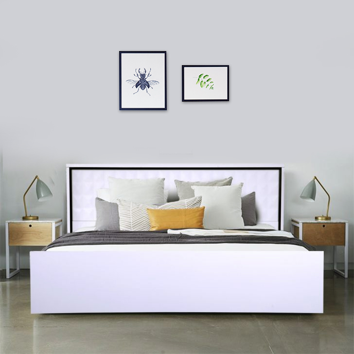 Giovanni Engineered Wood Box Storage King Size Bed in High Gloss White Colour by HomeTown