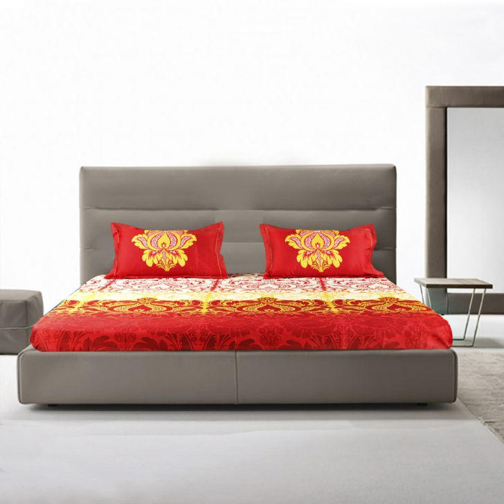 Casablanca Polyester Double Bed Sheets in Multicolor Colour by Living Essence