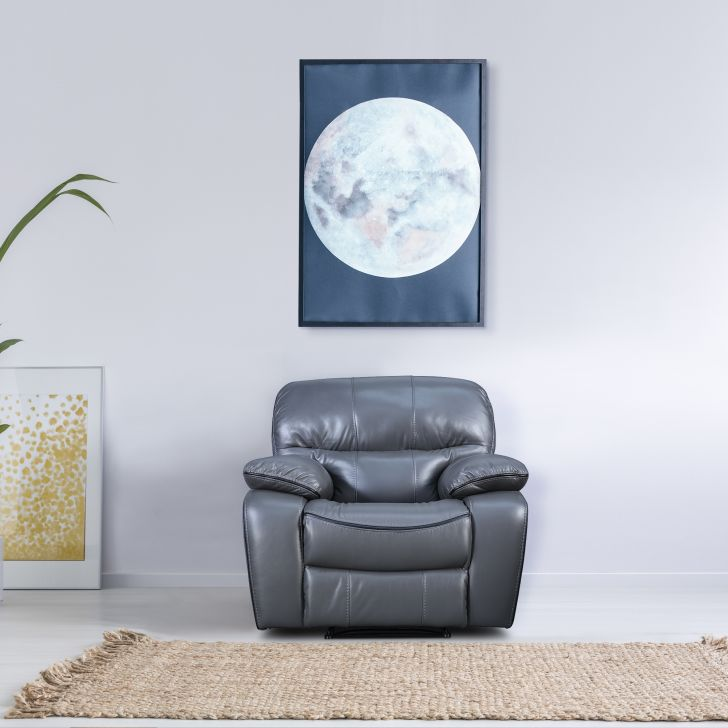 Indus Leatherette Single Seater Recliner in Grey Colour by HomeTown