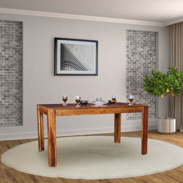 Glitz Solidwood Six Seater Dining Table in Teak Colour by HomeTown