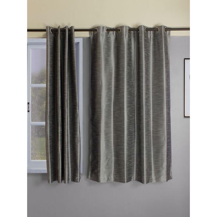 Set of 2 Emilia Blackout Polyester Window Curtains in Charcoal Colour by Living Essence